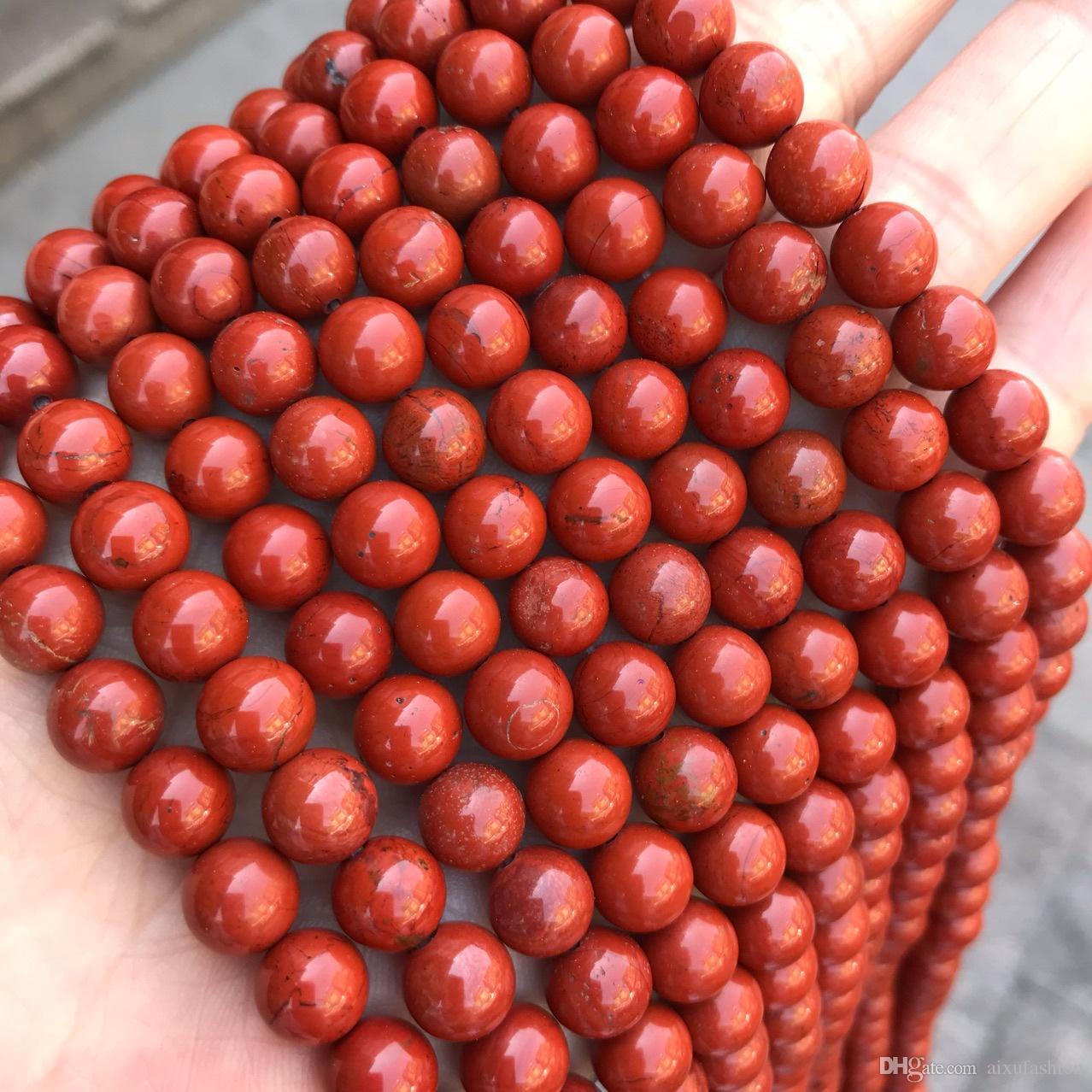 2020 4 6 8 10 12mm Genuine Natural Red Jasper Stone Beads Round