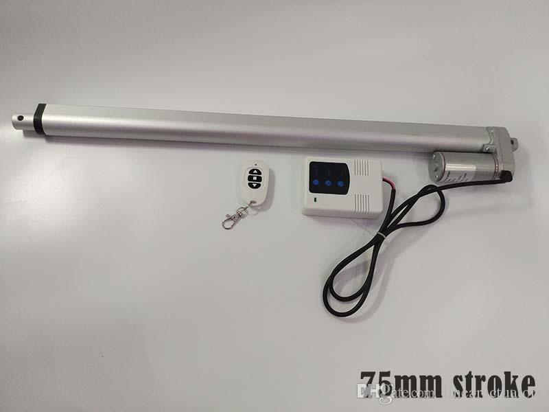 75мм ход 10 мм Скорость 1000N максимальное усилие 12v / 24v линейный привод с DC 12v на входе беспроводной Controllor