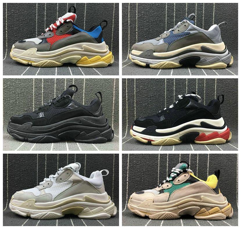 2018 Mode Paris 17FW Triple-S Sneaker Triple S Casual Papa Luxe Chaussures pour Hommes Femmes Beige Sport Tennis Designer Running Shoe 36-45