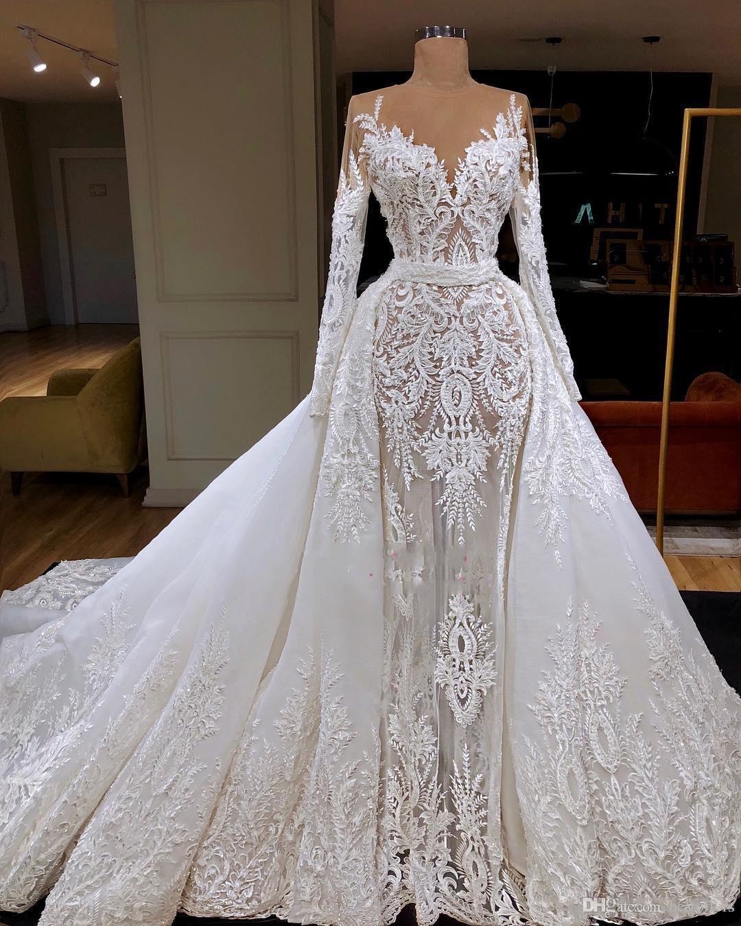 2020 Sexy luxe à manches longues sirène Robes de Mariée avec Amovible train Dubaï arabe dentelle Appliqued Robes de mariée Custom Made