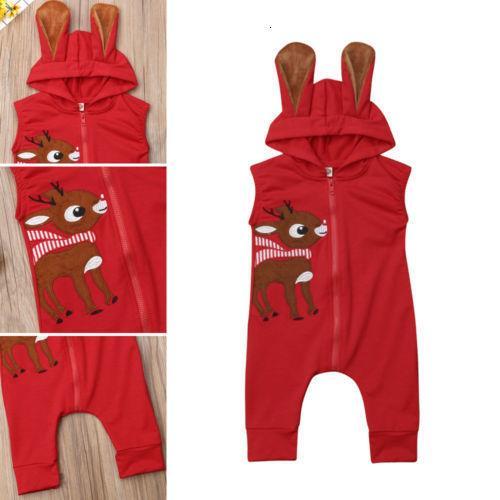 Crianças Baby Girl Boy Xmas Roupa 3d Ear com capuz Romper mangas Jumpsuit Playsuit Outfit Uk