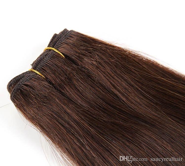 Продукты человеческих волос 3шт / много бразильских индейцев перуанские малайзийские волосы прямые коричневого цвета, 100% необработанные наращивание волос, бесплатно DHL