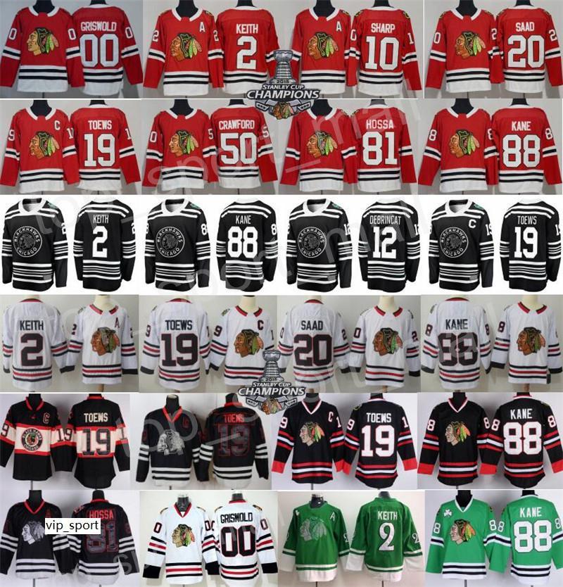 Inverno Clássico Chicago Blackhawks Jersey Hóquei Duncan Keith Jonathan Toovs 88 Patrick Kane Corey Crawford Alex Debrincat Saad Griswold