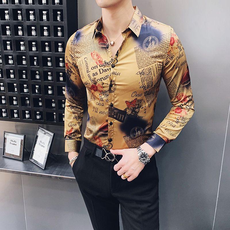 Retro Gazete Baskı Gömlek Erkek Sosyal Kulübü Elbise Gömlek Slim Fit Altın Camiseta Çiçek Vintage Giyim Erkek Uzun Kollu