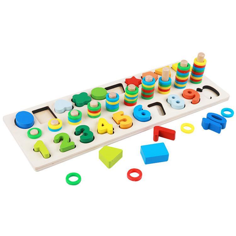 Prescolari di legno Montessori Giocattoli Contare Forma geometrica Cognition Partita bambino precoce educazione sussidi didattici matematica giocattoli per i bambini