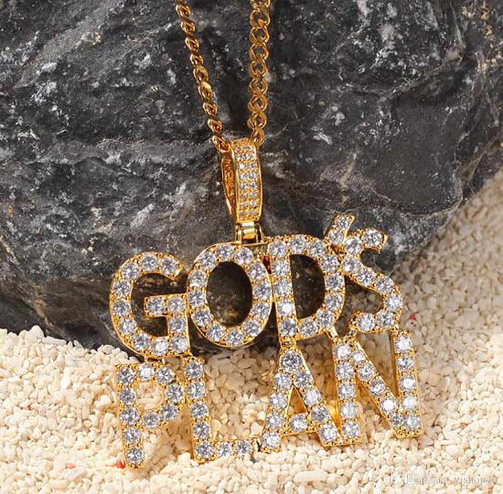 14K Iced Out Diamond GoldsPlan Letter Pendant Necklace Bling Bling Micro Pave Cubic Zirconia Simulated Diamonds 24inch Rope Chain