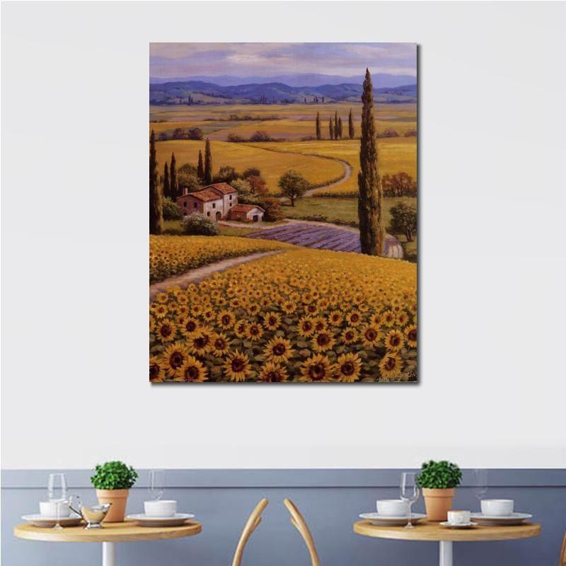 Las pinturas al óleo hermosa mano de la lona arte pintado campo del girasol la imagen de pintura para la decoración de la pared