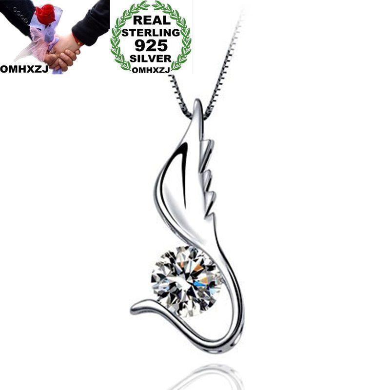 OMHXZJ Atacado Personalidade Mulher Moda presente de casamento menina Asa Branca Zircon S925 Sterling Silver Charme Pendant CH38