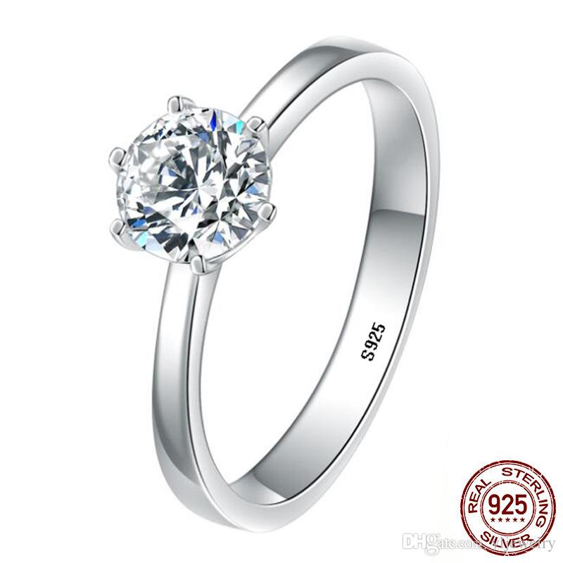 Original 100% 925 Sterling Silver Solitaire Rings 1 Carat CZ Diamant Engagement Wedding Ring Fine Jewelry for Women Gift XR366