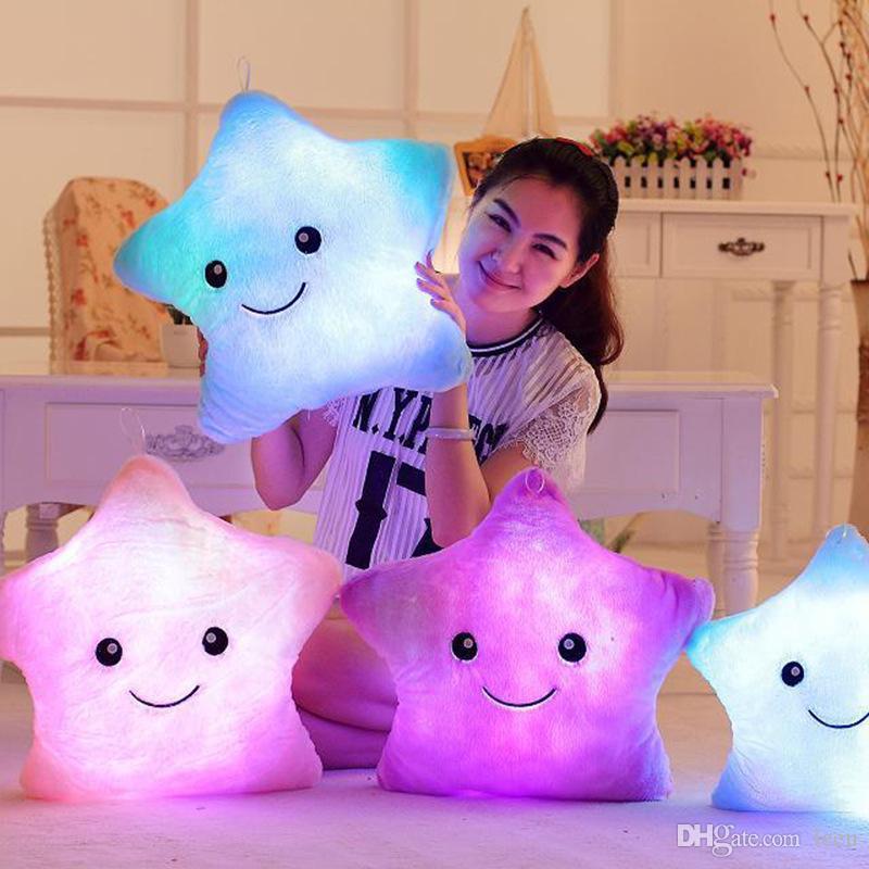 LED flash light hold cuscino cinque stelle bambola peluche animali giocattoli farciti 35 cm regalo di illuminazione bambini regalo di natale giocattolo peluche ripieno