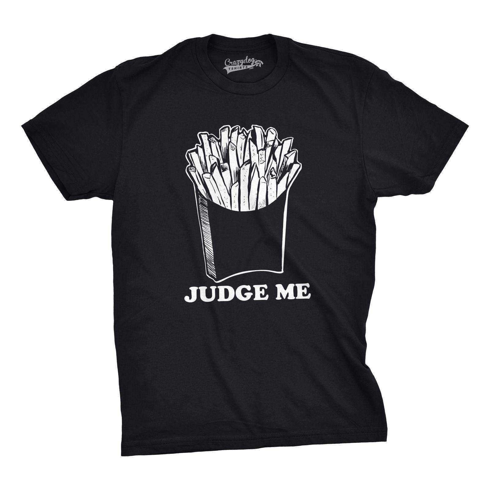 Mens Judge Me Frites Drôles Frites Françaises Fast Food Foodie T-shirt Couleur Jersey