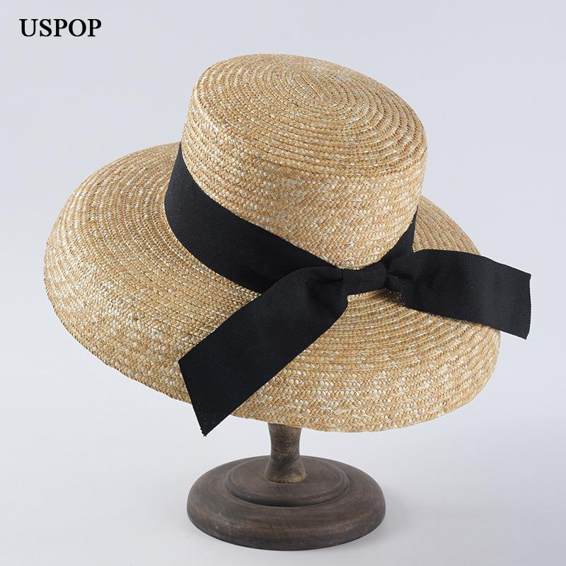 USPOP 2019 Newest women natural wheat straw hats casual summer sun hats large brim beach hat vintage drooping bow straw sun