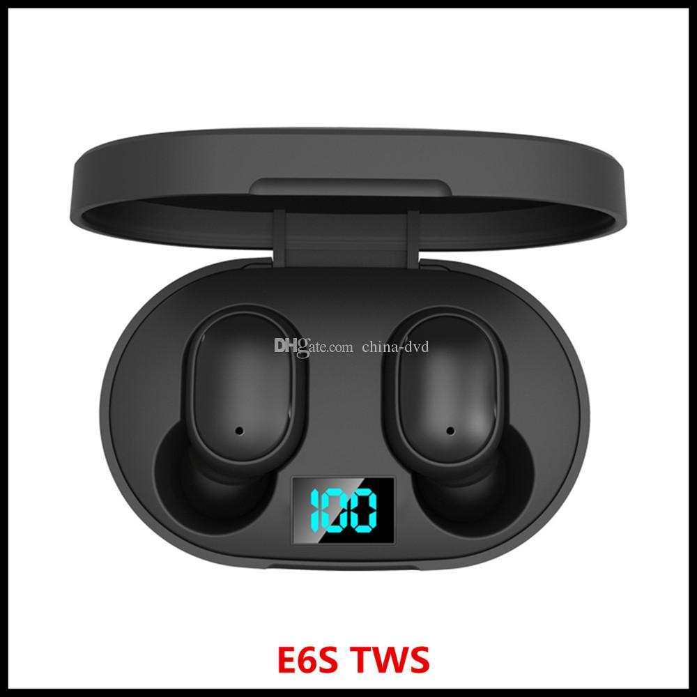 Mini auricolari senza fili TWS E6S TWS cuffie acustico ad alta fedeltà Auricolare Bluetooth 5.0 con doppio display a LED Mic Cuffie accoppiamento automatico Cuffie