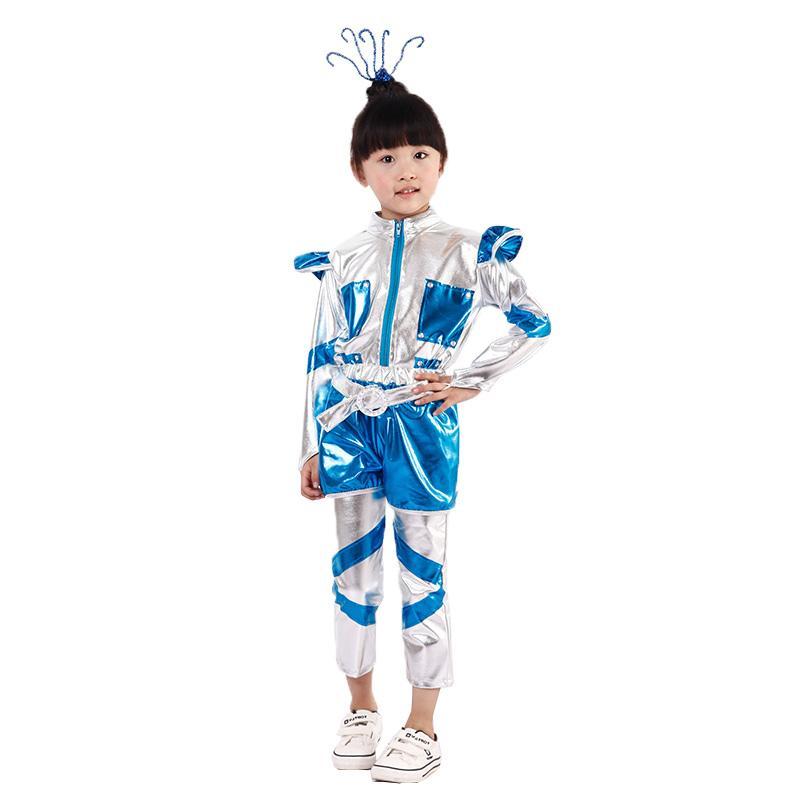 Çocuk takımları çocuk giyim unisex giyim 100-150cm için robot astronot performans uzay dans gösterisi zaman dans