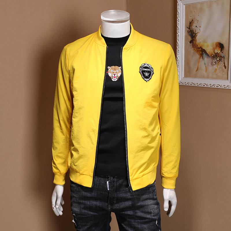 2020 Spring Yellow Jacket European Station Spirit Guy Handsome Men's Simple Embroidery Baseball Men's Jacket Casual Size M-5xl