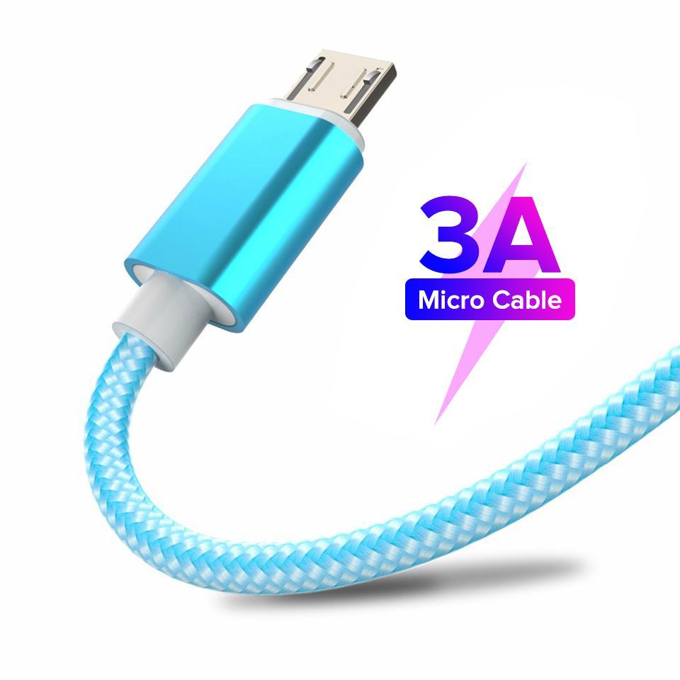 Cables de carga rápida Cable Micro USB Cable Android Datos de teléfonos móviles Cable de cargador de sincronización para Samsung A7 S7 para Xiaomi 1M / 2M / 3M Cordón tipo-C