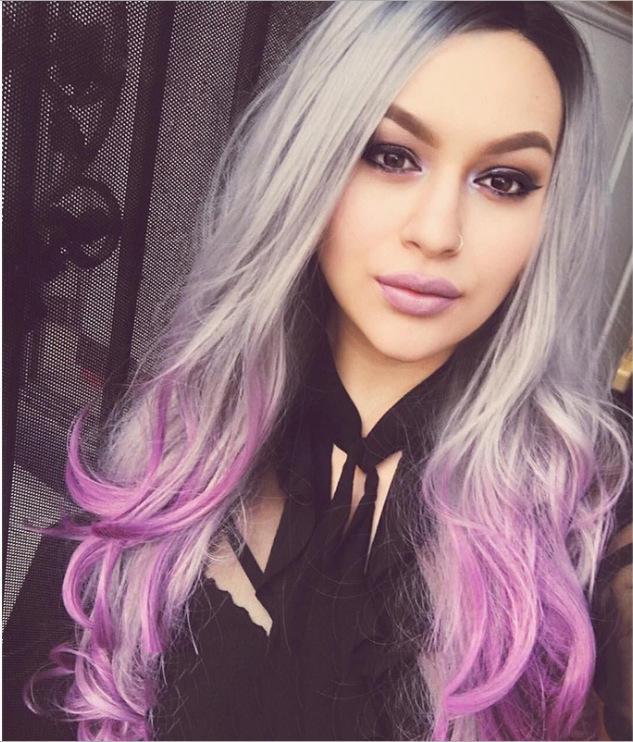 Europa y América peluca de blanqueo y tinte de pelo largo y rizado de la estrella Nueva Negro degradado gris púrpura Mujer Cos color Animación Peinado