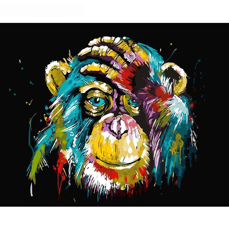 البابون الحيوان diy الطلاء بواسطة عدد جدار الفن صورة الطلاء حسب عدد قماش اللوحة ل ديكور المنزل الفني
