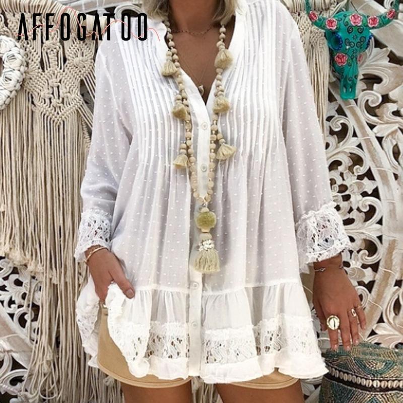 Affogatoo Casual blusa de verano de gasa bohemia blusa de verano bordado de encaje blusa de las mujeres más el tamaño de las damas de playa femenina tops