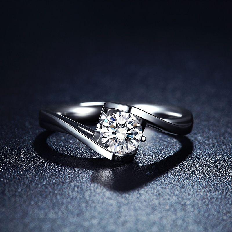 BOEYCJR 925 Серебряный 1ct F цвет Moissanite VVS обручальное кольцо с бриллиантом с национальным сертификатом для женщин