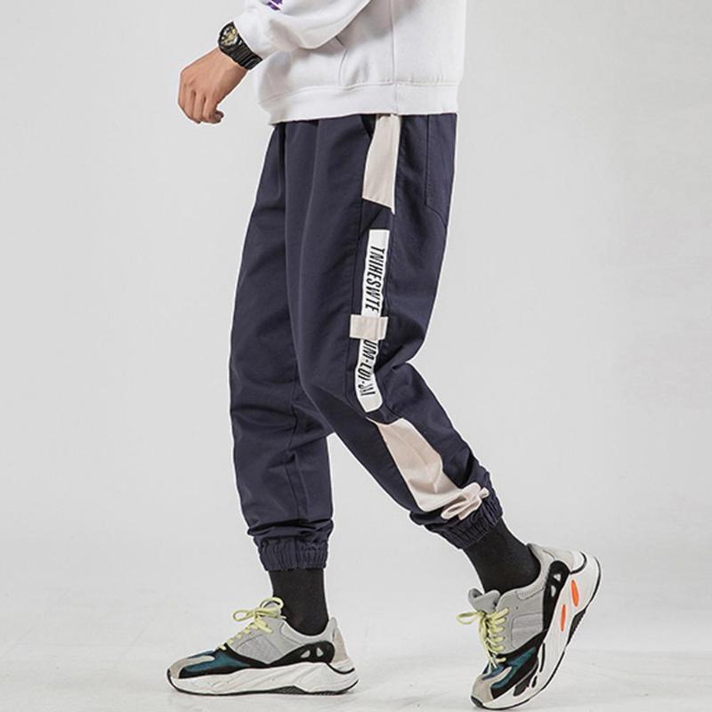 Erkek Günlük Moda Gevşek Patchwork Outdoor tulumları Spor Uzun Pantolon Pockets
