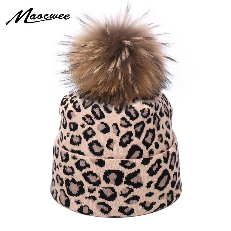 Quente Moda Mulheres Leopard Hat Beanie real Fur Pompon Winter Ball Crochet Gorro Hedging Cap Beanie Para Mulheres gorras