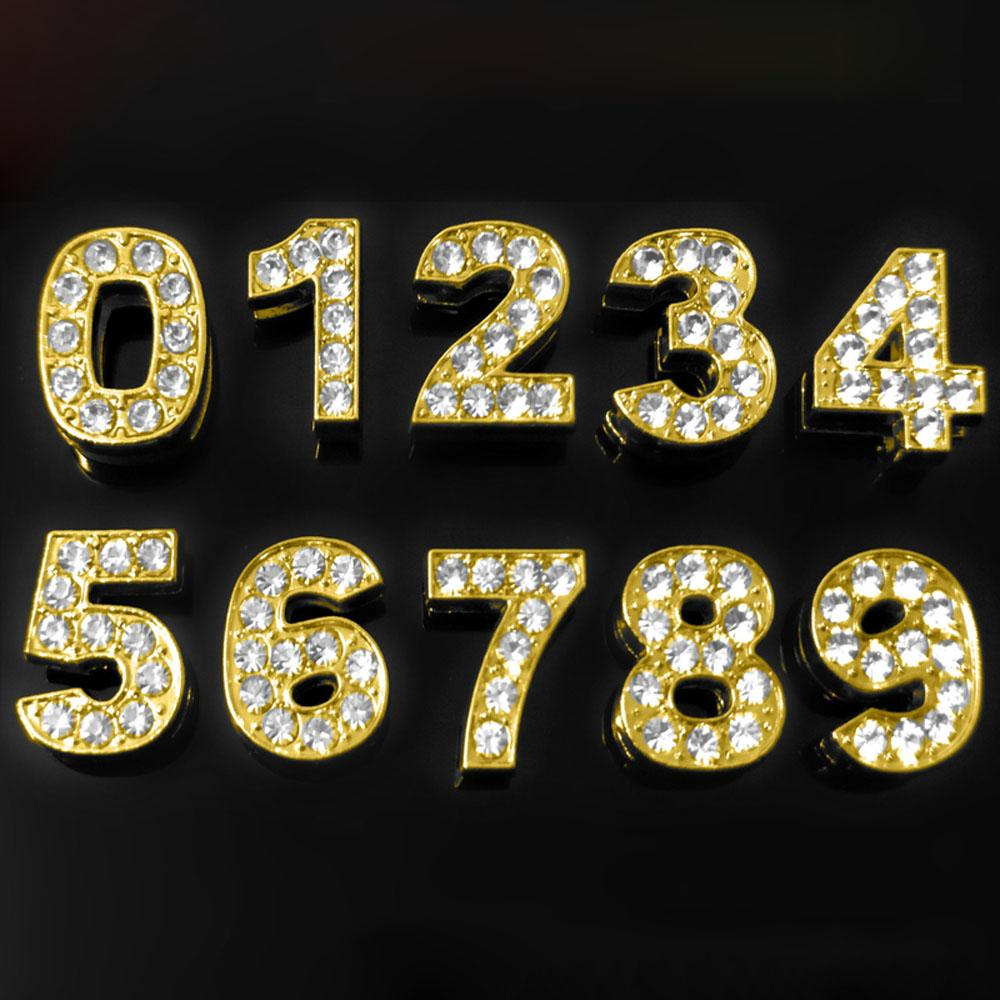 10mm dorato full diamante numeri targa targa catena lettere lettere rifornimenti di gioielli componenti designer charms designer gioielli accessori