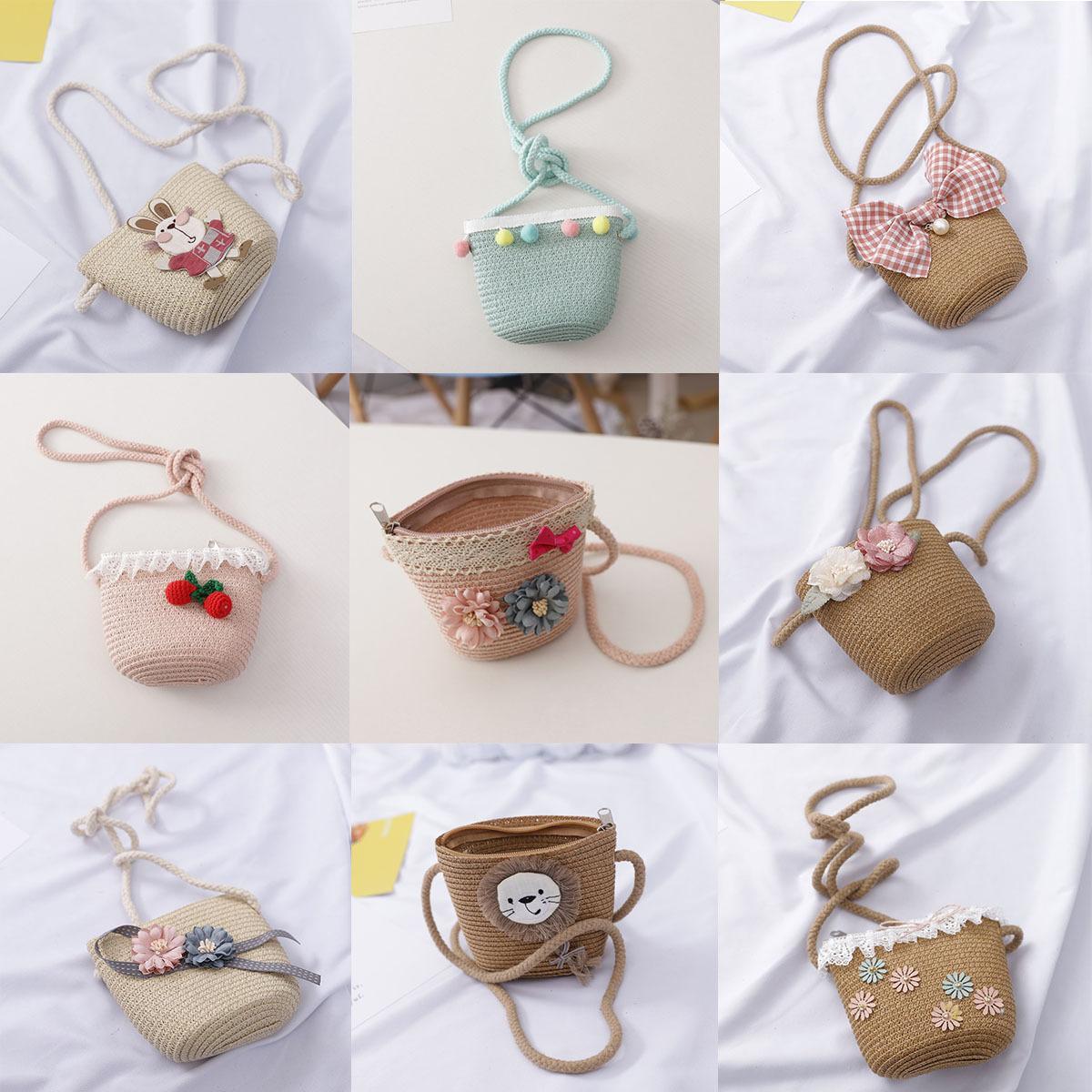 48 Styles Kid Girls Straw Bag Summer Boho Handbags For Girls Messenger Bag Flower Crossbody Travel Beach bags baby Pouch Purse M1786