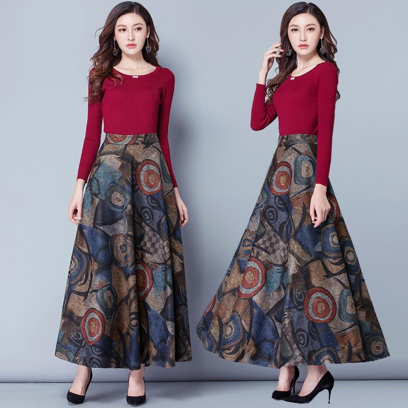 All'ingrosso-Elegante Autunno Inverno stampa di lana Gonne Donna Jupe Femme Vintage Warm vita alta Lana Gonna Gonne Maxi Gonna lunga C4800