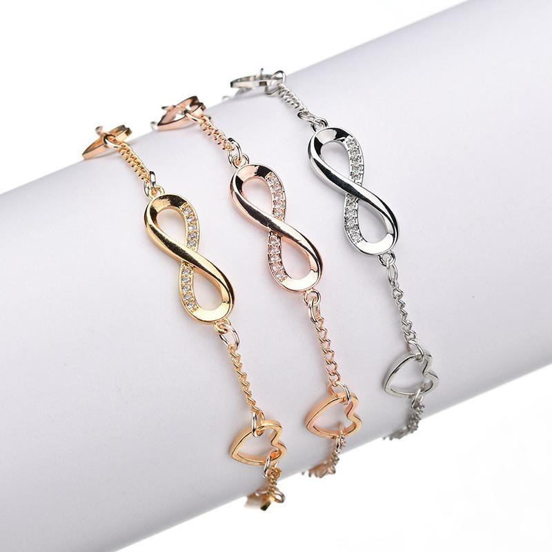 or HeartInfinity BraceletsBangles pour les femmes en alliage Zircon Charm Bracelets Bijoux en cristal Bracelet BT200299