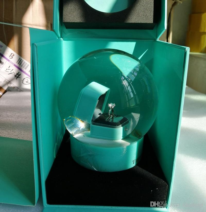NEW VIP هدية! الأزرق سنو غلوب مع صندوق الدائري داخل 2019 ندفة الثلج كريستال الكرة ديك مربع هدية، لالجدة هدية عيد ميلاد عيد الميلاد