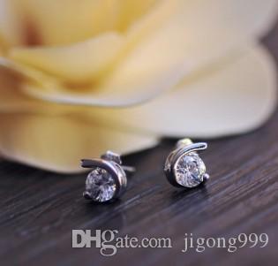 Baixo preço por atacado 2 pares / lote venda quente linda dimaond cristal 925 earomgs da senhora do casamento de prata 6vt