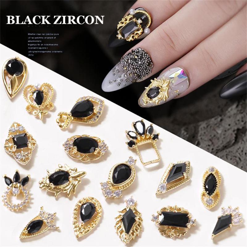 Chains brilhante preto novo Crown Zircon jóias desenhos 3D Cristal Rhinestones lingotes de ligas de prego Decoração Nail Art Gel UV Polish