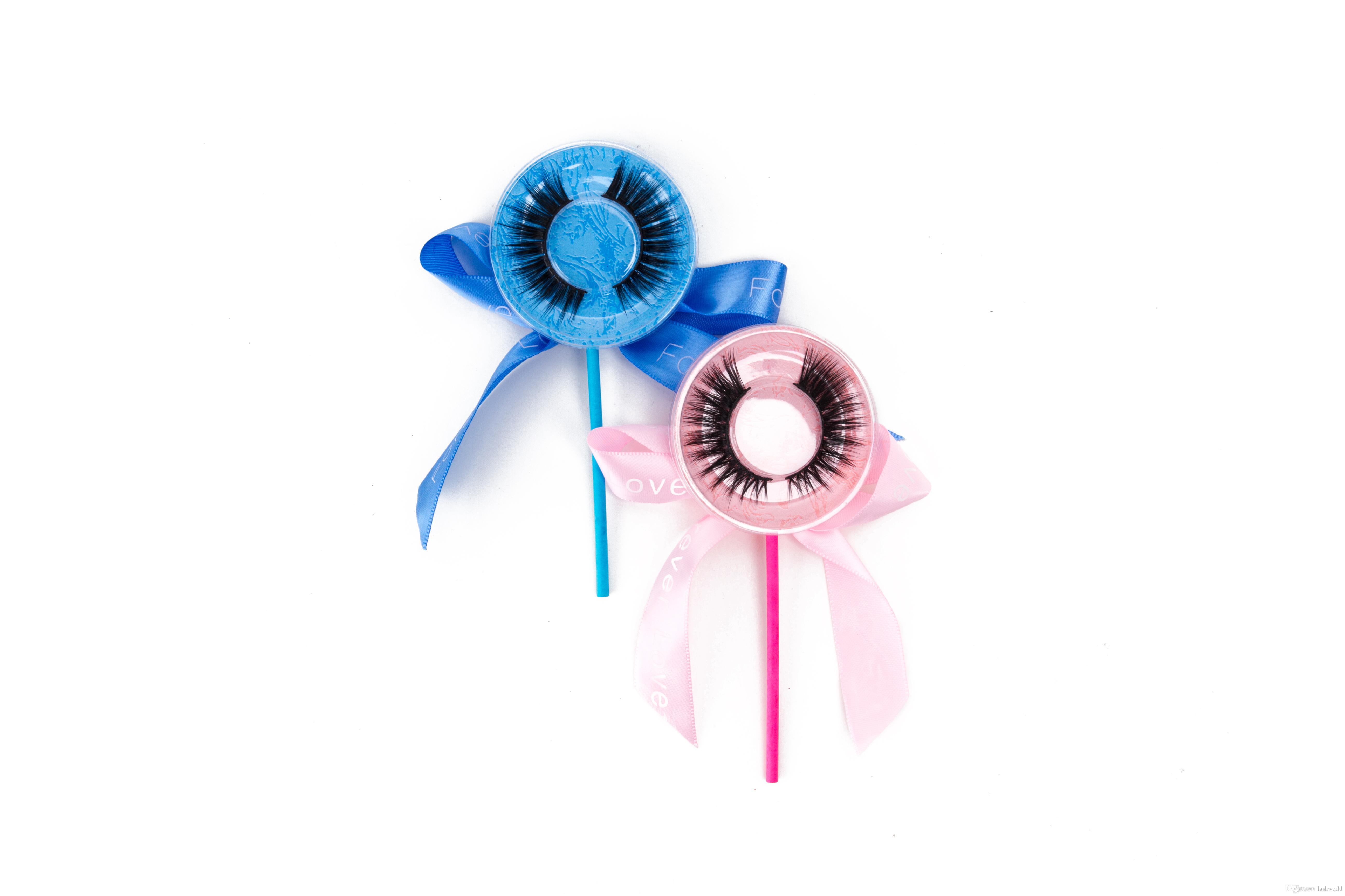 Lollipop Box Hochwertige falsche Wimpern 3D Nerzstreifen Seidenwimpern dicke gefälschte künstliche Wimpern akzeptieren private Etiketten auf Aufklebern