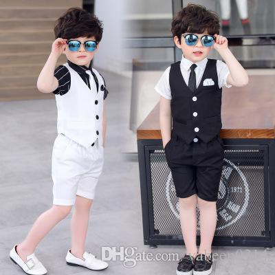 Explosion models hot European white black gray boy suit vest shirt pants three-piece suit/in stock Summer boy wedding party dress wholesale