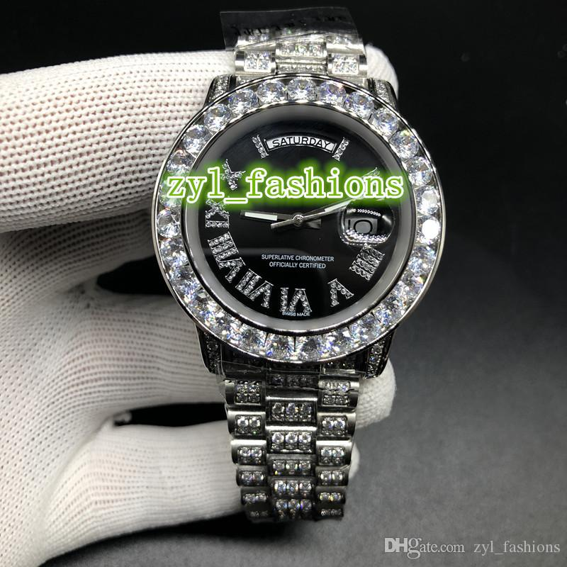 Мода высокого качества Iced Diamond Watch Black Face наручные часы Серебряный корпус из нержавеющей стали Diamond Часы Автоматические механические хип-хоп часы