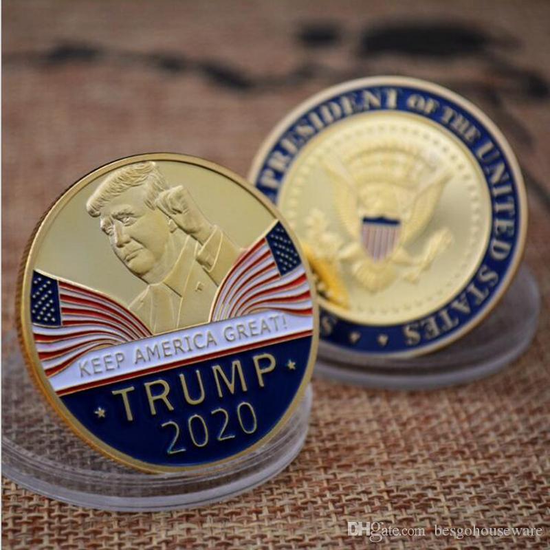 خطاب ترامب التذكاري عملة أمريكا الرئيس ترامب 2020 مجموعة عملات معدنية الحرف ترامب الرمزية تبقي أمريكا العظمى عملات BH2309 TQQ