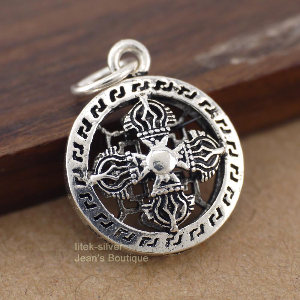 A2888 joyería 925 de plata esterlina sólida Filigrana tibetana Vajra Dorje encanto pendiente de bricolaje