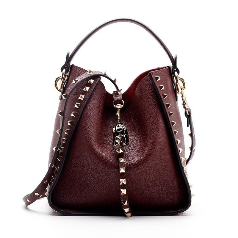 Brand 2019 Winter New Женщины кожаный кошелек и сумочку Большой Tote сумки Rivet Дизайнерские Crossbody Сумки Новый дизайн сумки на ремне 801