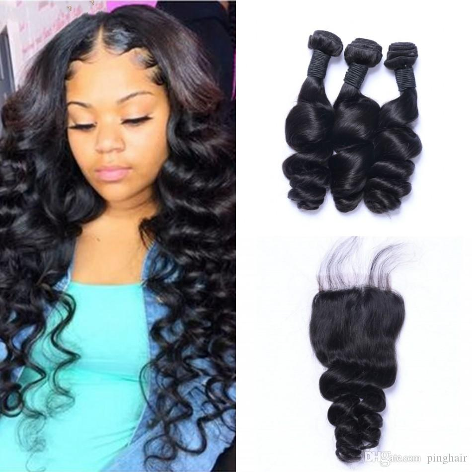 Indian Human Hair Loose Wave Bundles with Closure Natural Color Virgin Hair Extensions 3 Bundles with Lace Closure