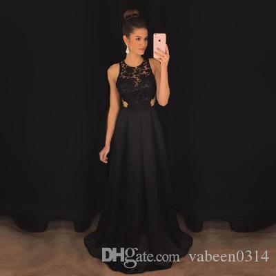 2019 hot sale sexy sleeveless hollow Slim evening dress / new black lace backless Jewel Prom Dresses / into the store to choose more styles