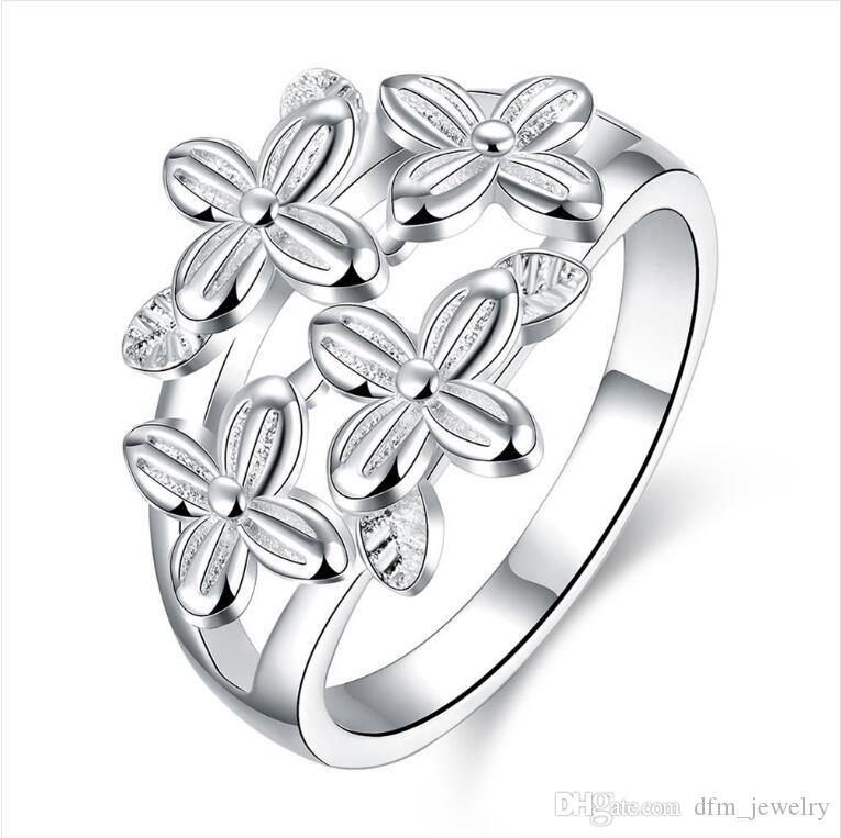 DHL plateó el epacket plata esterlina romántica del trébol Señora Tamaño del anillo DJSR763 7 de los EEUU; 925 placa de plata anillo de racimo de la joyería de las mujeres a estrenar
