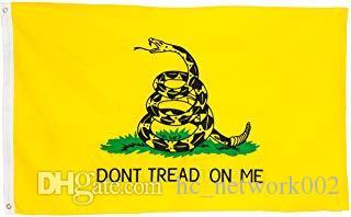 90 * 150 CM drapeau de Gadsden ne marchent pas sur moi Drapeau jaune serpent bannières décoration maison de polyester de haute qualité