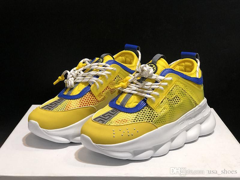Цепная реакция папа обувь Мужчины Женщины Облегченно 2 Chainz х ограда Рельефная подошва желтый белый Повседневный Дизайнерская спортивная обувь кроссовки