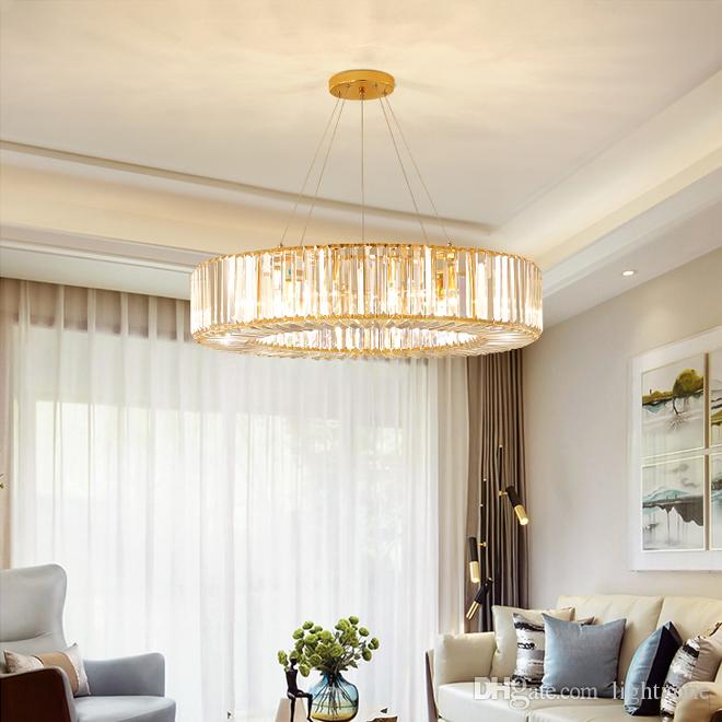 Lampade a sospensione nuovo lusso moderno design rotondo lampadario di cristallo di illuminazione d'oro creative Lampadari luci led per soggiorno camera da letto