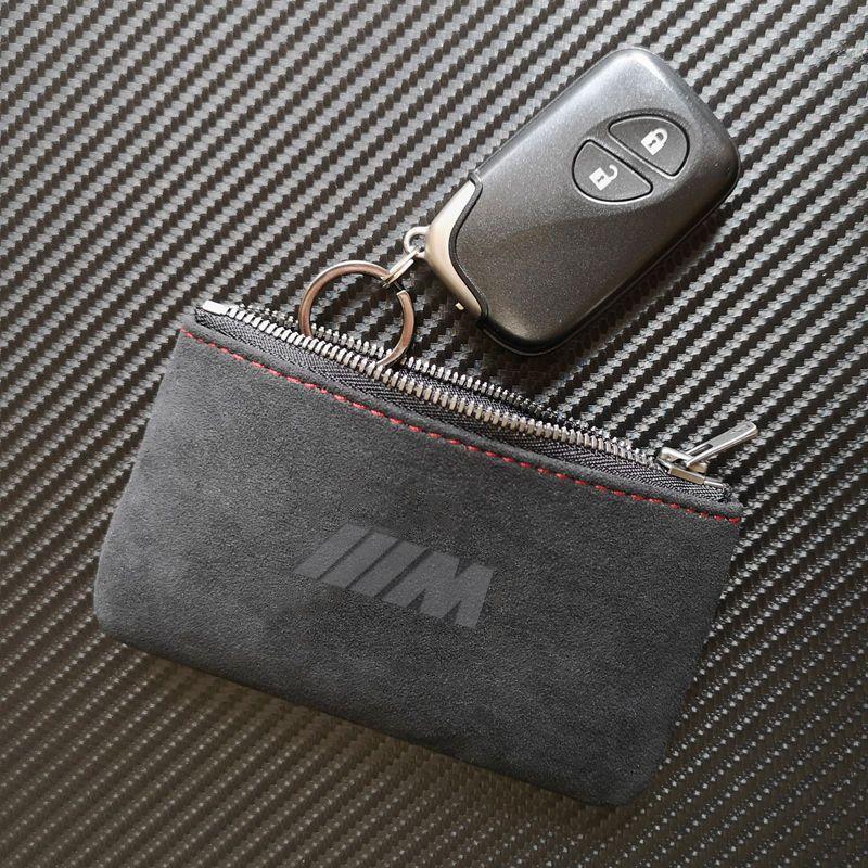 M Logo ماتي الجلود مفتاح حقيبة المحفظة مفتاح القضية حامل غطاء مع سلاسل المفاتيح لسيارات BMW