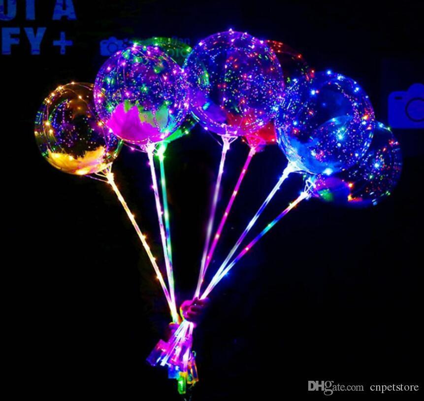 الجديدة بقيادة أضواء البالونات ليلة الإضاءة بوبو الكرة مهرجان الديكور بالون الزفاف الديكور مشرق بالونات أخف وزنا مع عصا