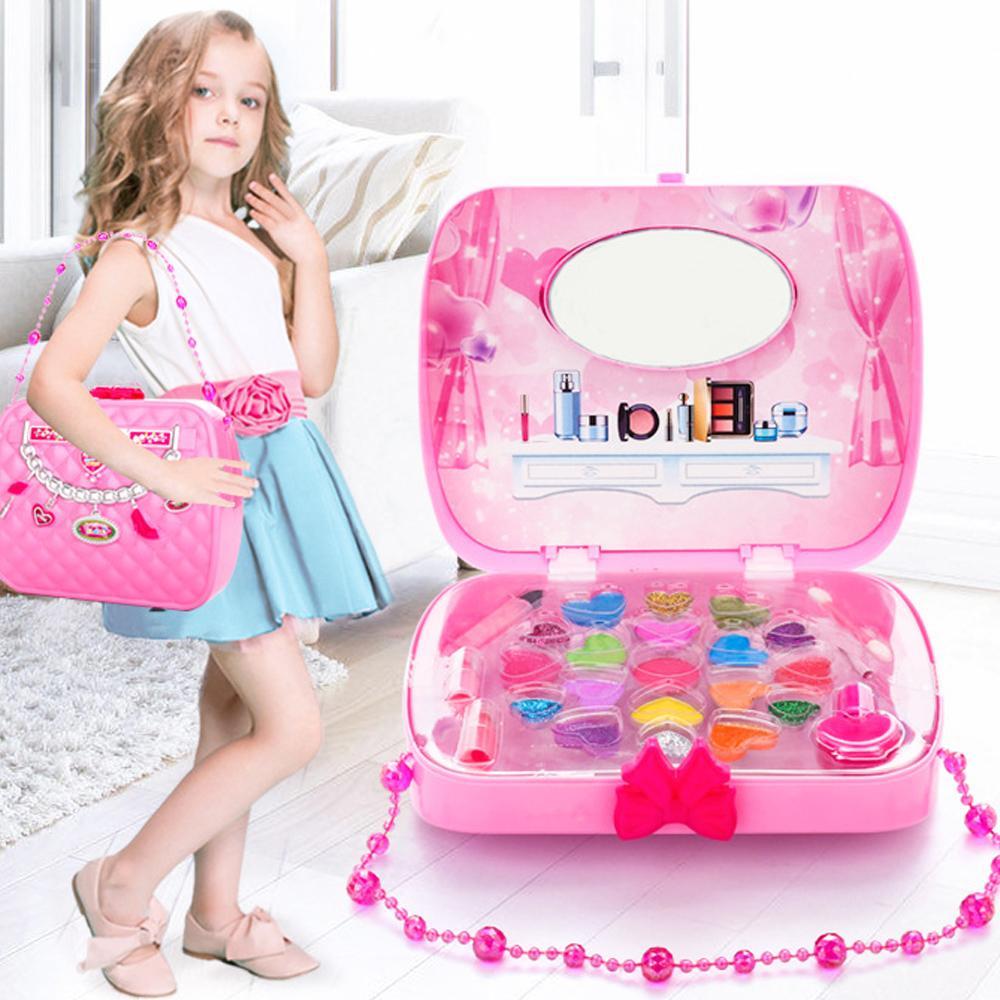 Filles Maquillage Ensemble Jouets Faire semblant Jouer Simulation Sac Cosmétique Beauté Jouet Sécurité Non-toxique Maquillage Kit Jouet pour Enfants Cadeaux