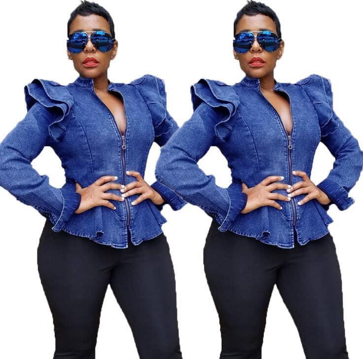 3XL Новый Лоскутная Сплошной цвет с длинным рукавом джинсовой куртки молния Бабочка рукавом Стенд шеи высокой талией улице носить осень Горячие