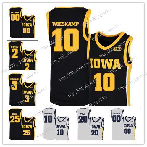 Personalizado 2020 NCAA Iowa Hawkeyes Jersey 10 Joe Wieskamp 25 Tyler Cook 55 Luka Garza 5 CJ Fredrick 15 Kriener 30 Lester Basketball Jerseys